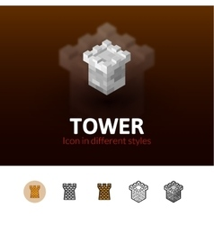 Tower icon in different style vector