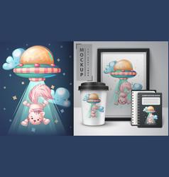 Ufo cat - poster and merchandising vector
