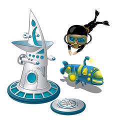 underwater research station and the scuba diver vector image