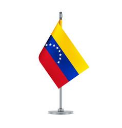 venezuelan flag hanging on the metallic pole vector image