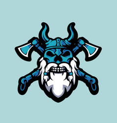 viking skull with two axes vector image