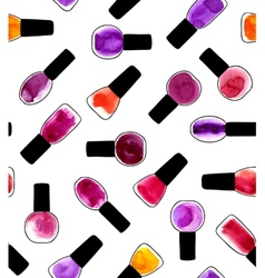 Watercolor painted pattern with nail polishes vector