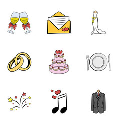 wedding ceremony icons set cartoon style vector image