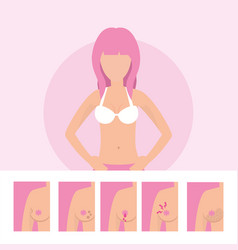 Woman sick with breast cancer illness vector