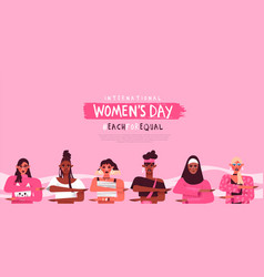 Womens day each for equal diversity web template vector