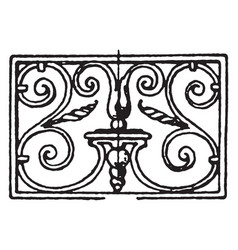 wrought-iron oblong panel is french 18th century vector image