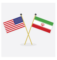 crossed united states and iran flags vector image
