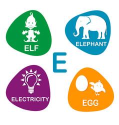 cute alphabet in e letter for elf vector image