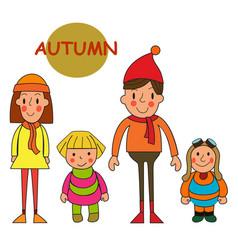 set kids autumn season little girls and boys vector image