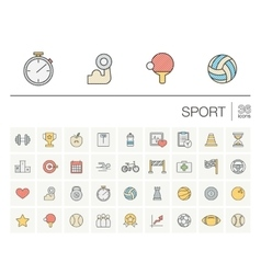 Sport and fitness color icons vector