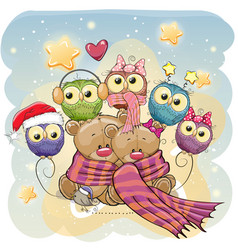 two cute bears and owls vector image