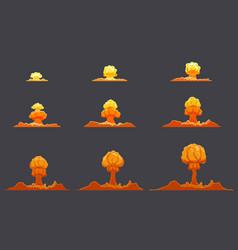bright flat explosion animation set vector image