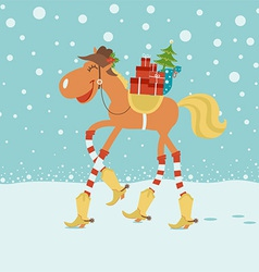 Christmas card with horse in cowboy hat and boots vector image vector image