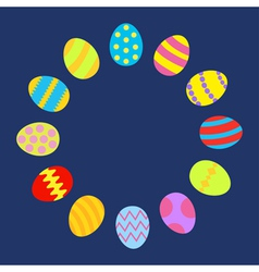 Colored Easter egg set round frame on blue vector image