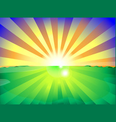 countryside field and sun rise background with vector image