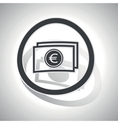 Euro banknote sign sticker curved vector image