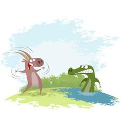 goat teases the crocodile vector image