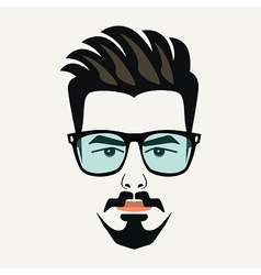 Goatee beard young handsome hipster male icon vector