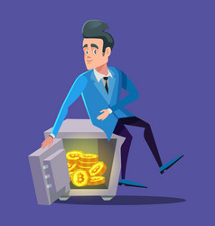 happy businessman sitting on safe full of bitcoin vector image