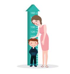 measure child kid height mother woman ruler meter vector image