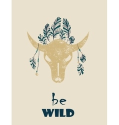 Native Indian-American tribal decorative bull vector image vector image