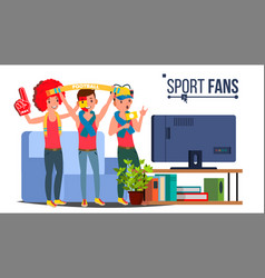 sport fans group fan attributes watching vector image