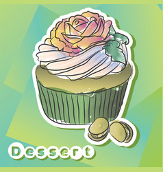 sticker with pistachio cake vector image vector image