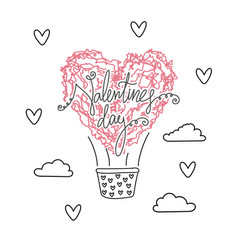 air ballon in shape of heart valentines day vector image