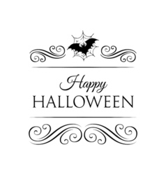 Bat And spider Web Happy Halloween Badge vector image