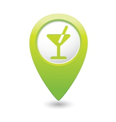 cocktail icon green map pointer vector image vector image