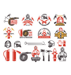 Colored badges for firefighter department symbols vector
