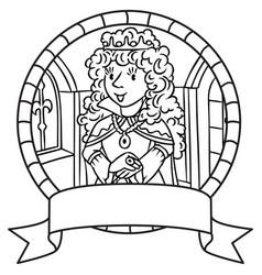 coloring book of queen or princess emblem vector image