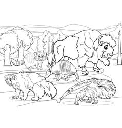 mammals animals cartoon coloring page vector image