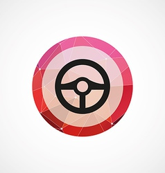steering wheel circle pink triangle background vector image