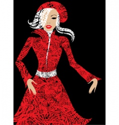 stylish woman in red vector image vector image