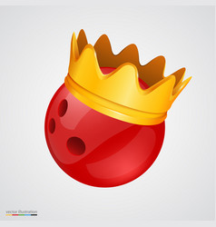 bowling ball with a golden crown vector image