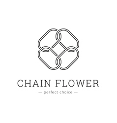 minimalistic chain flower line style logo vector image vector image