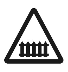 Railroad crossing with barrier sign line icon vector