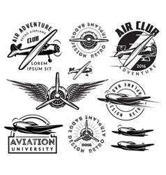retro pattern set of planes badges design vector image vector image