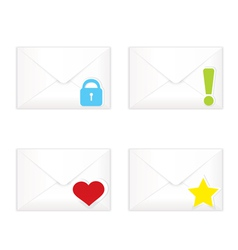 White closed envelopes with marks icon set vector image vector image