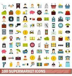 100 supermarket icons set flat style vector image