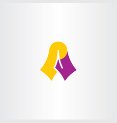 A logo purple yellow logotype letter symbol sign vector