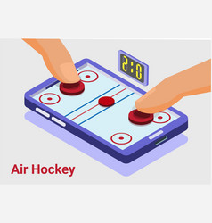 Air hockey game isometric mobile vector