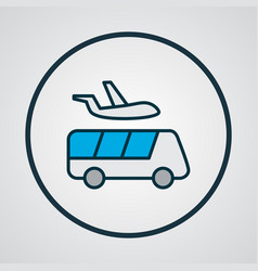 Airport shuttle icon colored line symbol premium vector