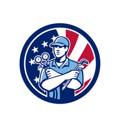 American air-con serviceman usa flag icon vector