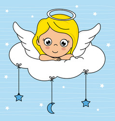 Angel girl on top of a cloud vector