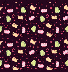 animal print pattern cute kawaii style cat kitten vector image