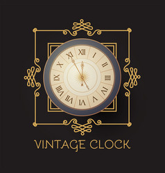 antique clock with elegant frame old fashioned vector image