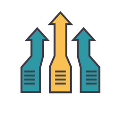 arrows up progress flat line vector image