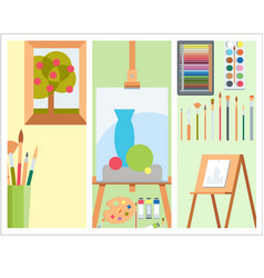 art tools flat painting cards details stationery vector image